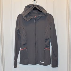 Bench Ladies Zip Up Hoodie Gray with Pink Large